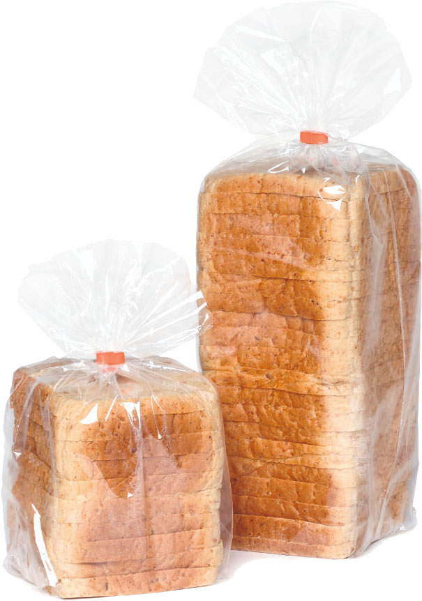 Packed bread in bags